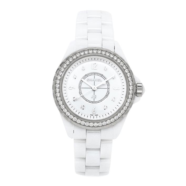 【中古】シャネル J12 8Pダイヤモンド/ダイヤモンドベゼル Ref. H3110 メンズ CHANEL J12 8P Diamonds/Diamonds【腕時計】【GOODA掲載】【未研磨品】