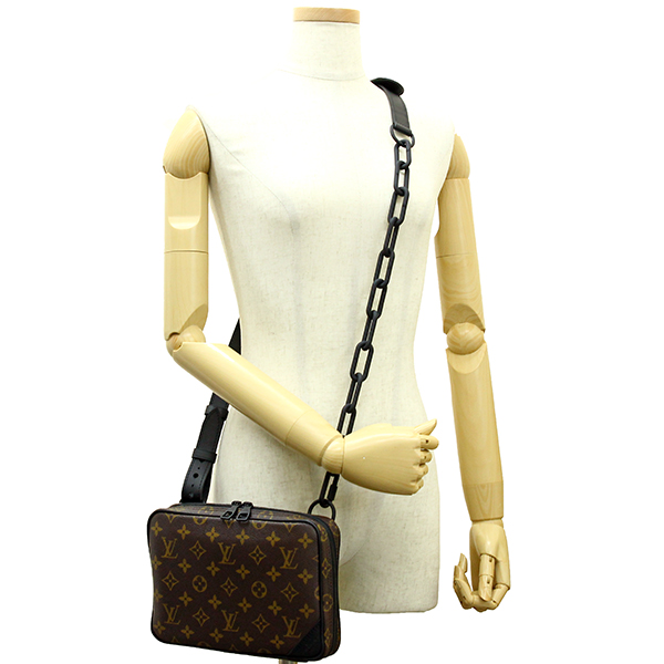 2adfb7550db3 LOUIS VUITTON UTILITY FRONT BAG Monogram Brown Black Shoulder bag Body bag   New
