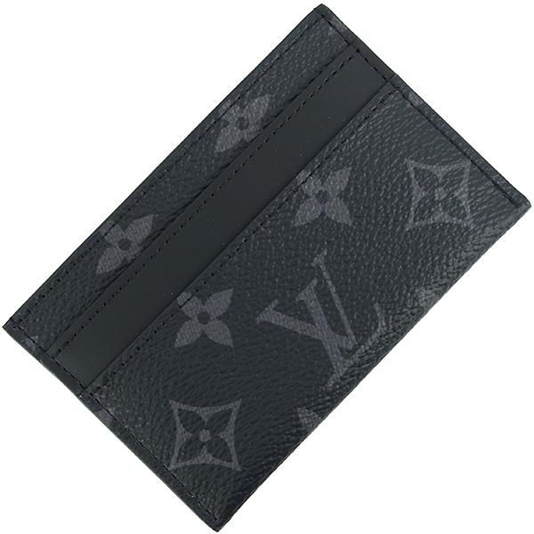 ルイヴィトン カードケース ポルト カルト ダブル モノグラム エクリプス レザー ブラック グレー 黒 本革 LOUIS VUITTON ビトン メンズ カードホルダー クレジットカードケース 薄い 薄型 インナー パスケース 定期入れ カード入れ ブランド プレゼント