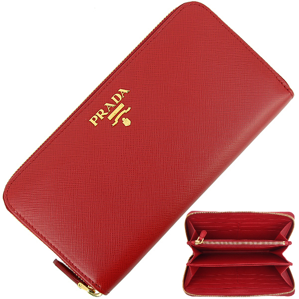 6ff28b09d2d ACROSS  PRADA Round fastener long wallet Saffiano metal Leather Red ...