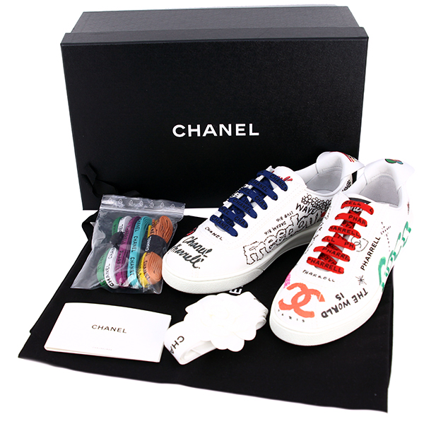the latest d5fdf 62ea8 CHANEL Logo string sneakers #37 Pharrell Williams Capsule collection Fabric  White Women [New]
