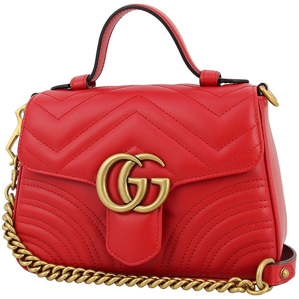 50b2b3c9a9fc94 GUCCI Mini top handle bag GG marmont Quilted Leather Hibiscus red GHW  Handbag Shoulder bag ...