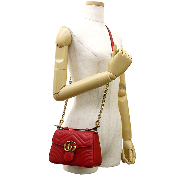 da05fe6cde3 GUCCI Mini top handle bag GG marmont Quilted Leather Hibiscus red GHW Handbag  Shoulder bag  New
