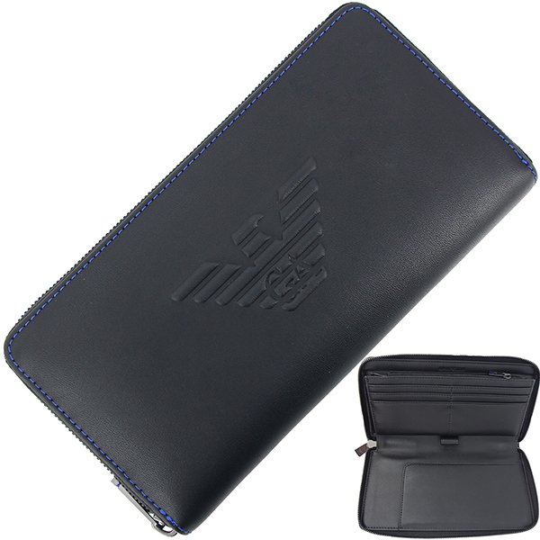 78ad0f7e40 EMPORIO ARMANI Round fastener long wallet Organizer fake leather Black Men  [New]