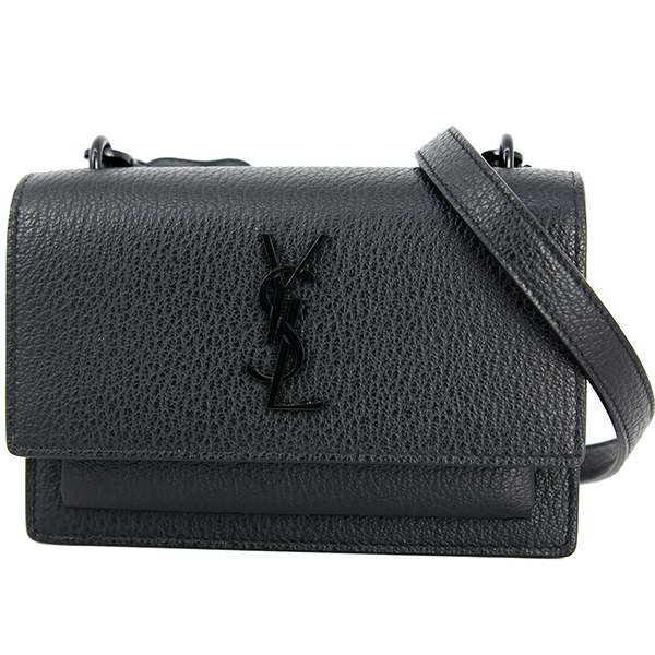 f5d07922eee SAINT LAURENT Shoulder wallet Sunset monogram YSL Leather Black Clutch bag  [Unused] ...