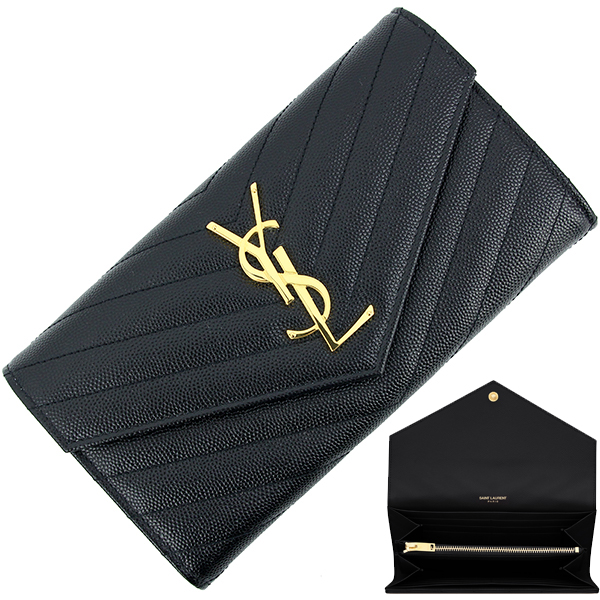 4a1c0635021e6 SAINT LAURENT Flap long wallet Monogram YSL Quilting leather Black GHW New
