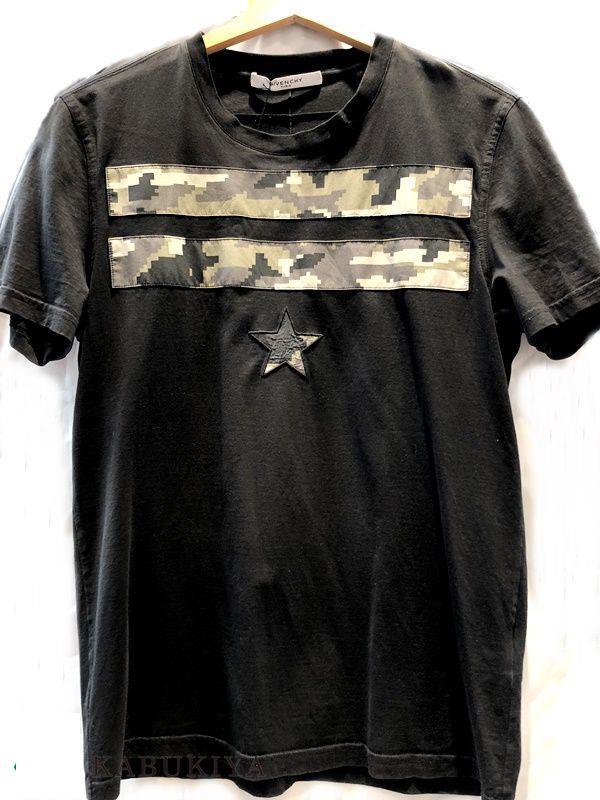 ジバンシィ GIVENCHY Tシャツ 黒 綿100% ブラック 迷彩 Mサイズ USED メンズ・レディース 人気ブランド【中古】18-1911MI