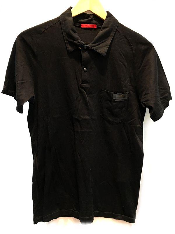 PRADA プラダ ポロシャツ ブラック 黒 メンズ 人気ブランド【中古】 70-317KJ