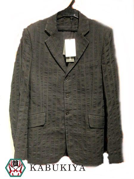 ANN DEMEULEMEESTER アンドゥムルメステール ストライプジャケット XSサイズ ブラック 黒 ブレザー 麻素材 テーラード アウター 上着 メンズ 衣類 人気ブランド【中古】xx7-1631Mo