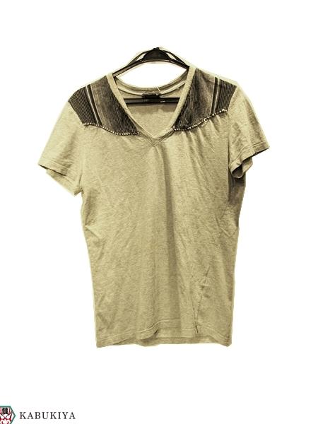 クリスヴァンアッシュ KRISVANASSCHE Tシャツ Vネック 綿100%グレー 灰色 メンズ・レディース 人気ブランド【中古】 xx17-7769KM