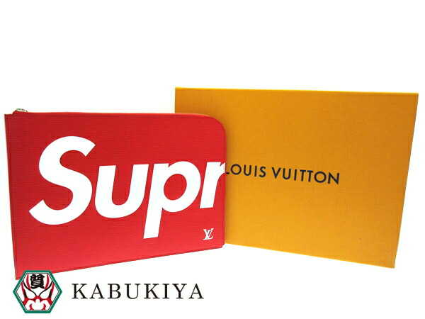 LOUIS VUITTON×SupremePochette Jour GM Red clutch bag M67722 ルイヴィトン シュプリーム クラッチバッグ Red ポシェットジュールメンズ・レディース 人気ブランド【中古】xx17-31008AO