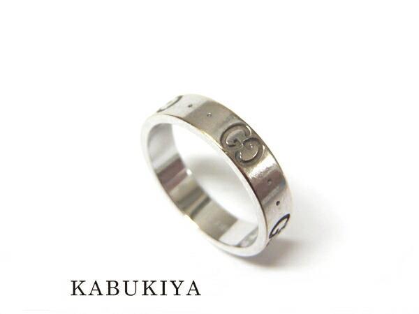 グッチアイコンリング K18WGホワイトゴールド 指輪 8号メンズ・レディース 人気ブランド【中古】16-11963ya
