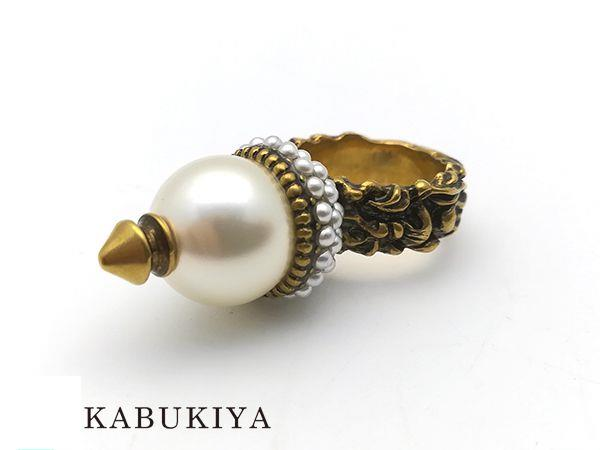 GUCCI グッチ パールリング #10 ゴールド メンズ・レディース 真珠 指輪 人気ブランド【中古】 18-34137CC