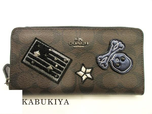 868b101ce8 COACH coach round fastener long wallet F11855 PVC coating canvas leather  brown coin purse signature emblem patchwork skeleton skeleton Star-Spangled  ...