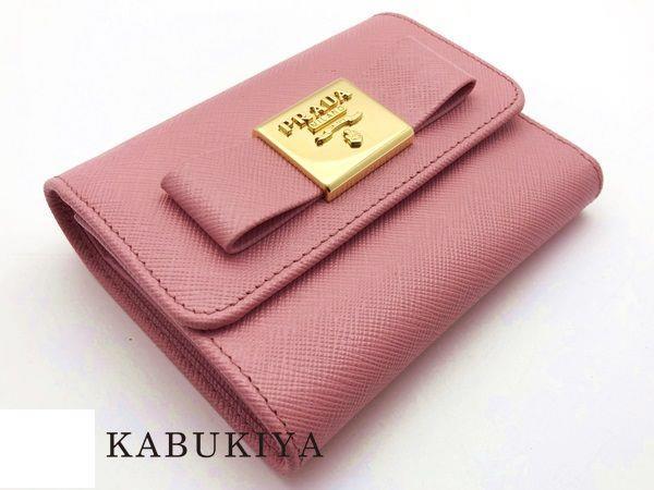 557b926b7406 Prada PRADA Three wallet compact wallets fold short wallet. Cowhide 2AEE  SAFFIANO FIOCCO pink FO442 PETALO 1MH840 □ 17-43481MI □