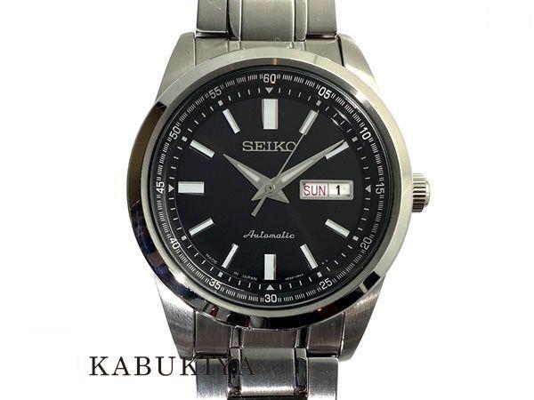 SEIKO セイコー メカニカル 4R36-05Z0 SS(ステンレススチール) ブラック シルバー AT 自動巻き 裏スケルトン 腕時計 メンズ 人気ブランド【中古】xx20-1789RS