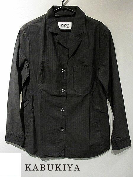 MM6 Maison Margiela メゾンマルジェラシャツジャケット ストライプ ブラック/ブルーメンズ 上着 黒 人気ブランド【中古】xx17-8233ok