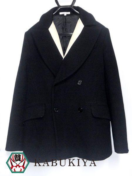 CARVEN カルヴェン 襟切り替えPコート ブラック 黒 46 メンズ アウター ジャケット ピーコート 人気ブランド【中古】18-1354RS