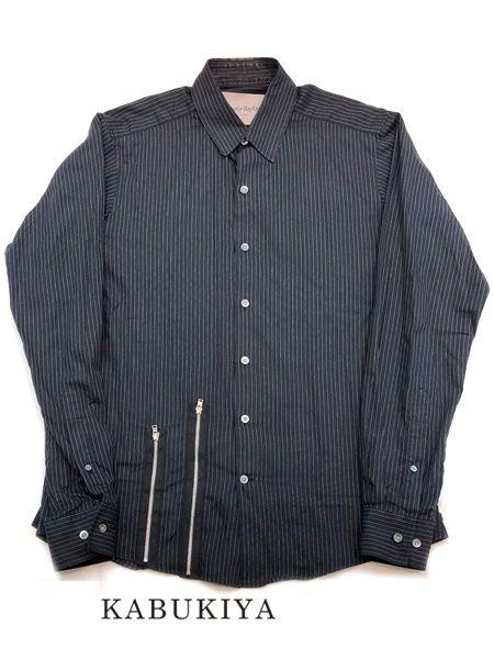 Casely-Hayford ケイスリー ヘイフォード サイズS Yシャツ カジュアルシャツ カットソー 長袖 サイドジップ ストライプ ネイビー ホワイト 紺 白 メンズ 人気ブランド【中古】 18-8326FK
