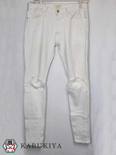 FEAR OF GOD フィアオブゴッド セルビッチデニムパンツ ホワイト 白 33 メンズ ジーンズ Gパン ボトムス ズボン パンツ 人気ブランド USED 古着 衣類 【中古】18‐8965RS