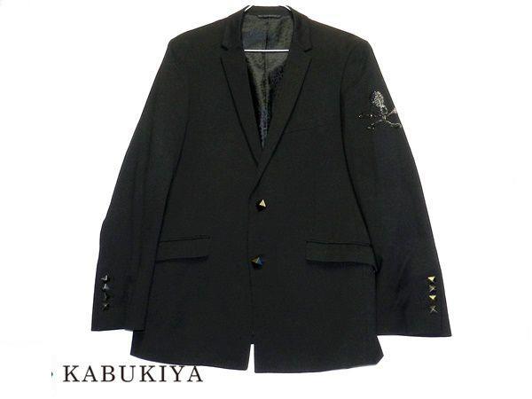 Roen ロエン スカルラインストーンジャケット 上着 アウター LLサイズ ドクロ ブラック メンズ 人気ブランド【中古】 19-44759IH