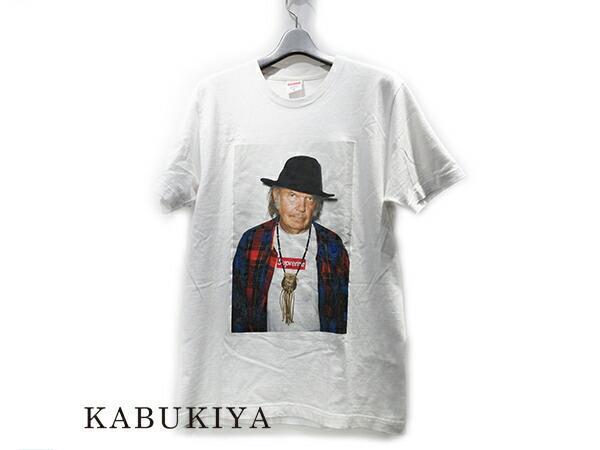 Supreme シュプリーム15SS Neil Young ニールヤング フォト プリント Tシャツ コットン100%白 ホワイトメンズ・レディース 人気ブランド【中古】xx7-1637ya