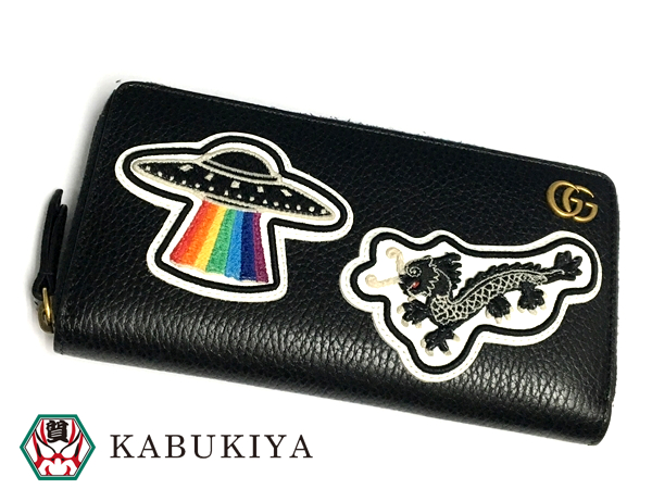55592c1017cb61 GUCCI Gucci Leather zip up wallet with the UFO Leather black 474584 CAONX  8346 □ 18-6940AO □
