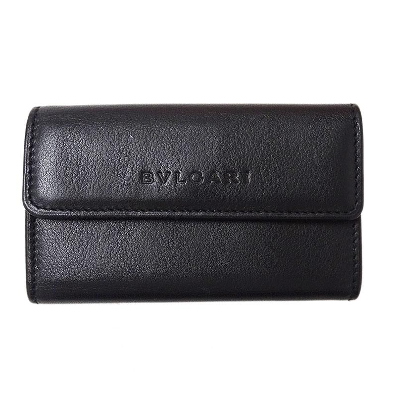 ◆ブルガリ BVLGARI コインケース 小銭入れ 三つ折り財布 レザー ブラック 【中古】