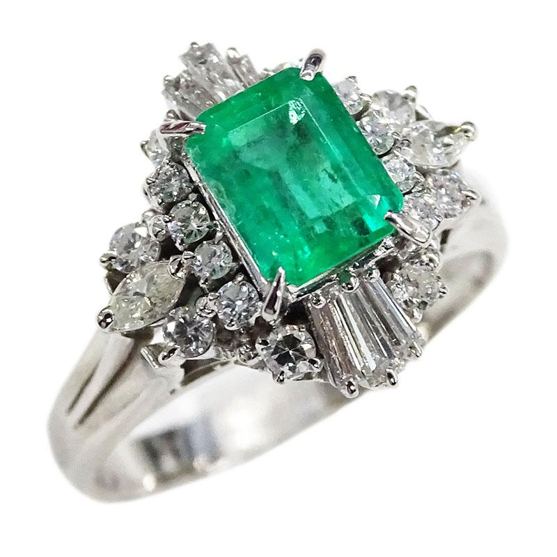 ◆貴金属 リング 指輪 PT900 エメラルド ダイヤモンド E1.25 D0.58 プラチナ ジュエリー 14号 約7.8g 【中古】