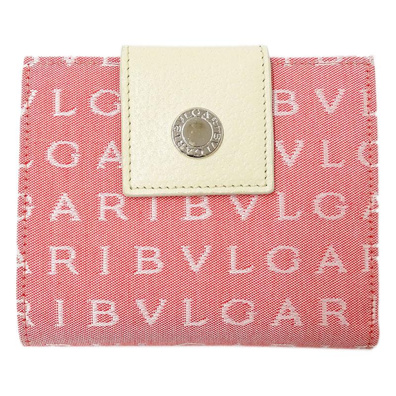 ◆ブルガリ BVLGARI ロゴマニア 二つ折り財布 キャンバス ピンク レディース 【中古】