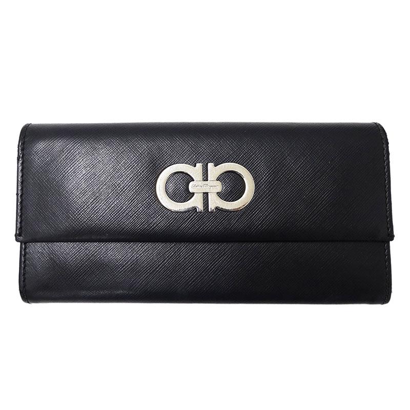 ◆フェラガモ Salvatore Ferragamo ダブルガンチーニ 長財布 二つ折り財布 レザー ブラック 【中古】