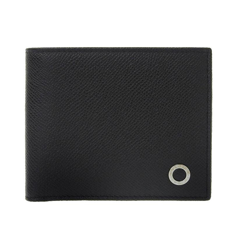 メンズ 財布 20210524 爆売りセール開催中 代B 良品 ブルガリ アイテム勢ぞろい BVLGARI ブルガリブルガリ 二つ折り財布 黒 ブラック レザー 中古