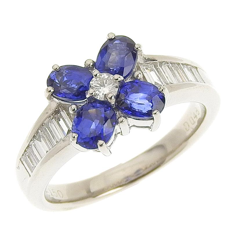 ◆ 美品 貴金属 リング 指輪 プラチナ PT900 サファイア 1.50ct ダイヤモンド 0.48ct #12 12号 【中古】