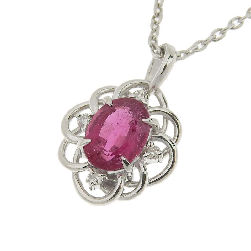 ◆ 良品 貴金属 ネックレス プラチナ Pt850/Pt900 トルマリン 1.32ct ダイヤモンド 0.06ct 【中古】