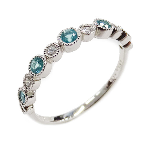 ◆貴金属 ジュエリー パライバトルマリン ダイヤモンド リング 指輪 0.19 D0.09 PT950 プラチナ 約12号 約2.8g 【中古】