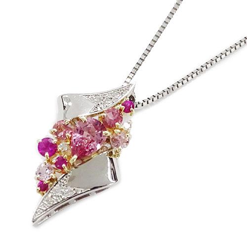◆貴金属 ジュエリー マルチ ピンクサファイア ダイヤモンド ネックレス PT850 PT900 K18WG 約6.2g 鑑別書 【中古】