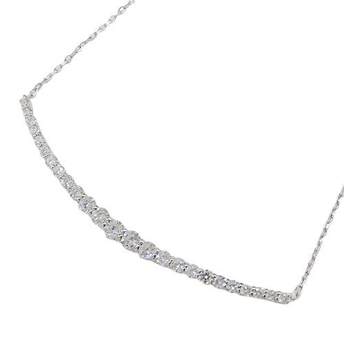◆貴金属 ジュエリー ダイヤモンド ネックレス ラインスマイル D1.00 PT850 プラチナ 約4.5g 【中古】