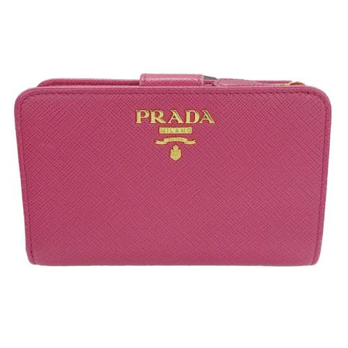 ◆プラダ PRADA 二つ折り財布 SAFFIANO METAL PEONIA ピンク ゴールド金具 レザー 1ML225 【中古】