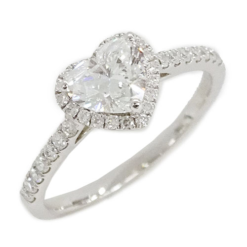 ◆貴金属 ジュエリー ダイヤモンド ハート リング 指輪 750WG D0.81[E-SI1-HS] 0.23 約10号 約1.9g 【中古】