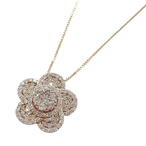 ◆貴金属 ジュエリー フラワー ダイヤモンド ネックレス D1.00 K18PG ピンクゴールド 約4.8g 【中古】