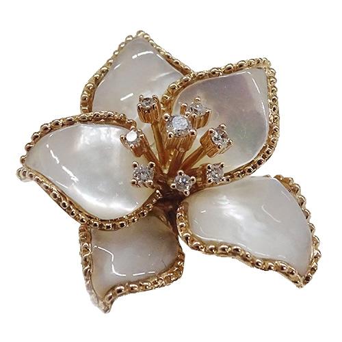 ◆貴金属 宝石 ジュエリー K18 シェル 貝 ダイヤモンド0.15ct ペンダントヘッド トップ ネックレス 5.2g 【中古】