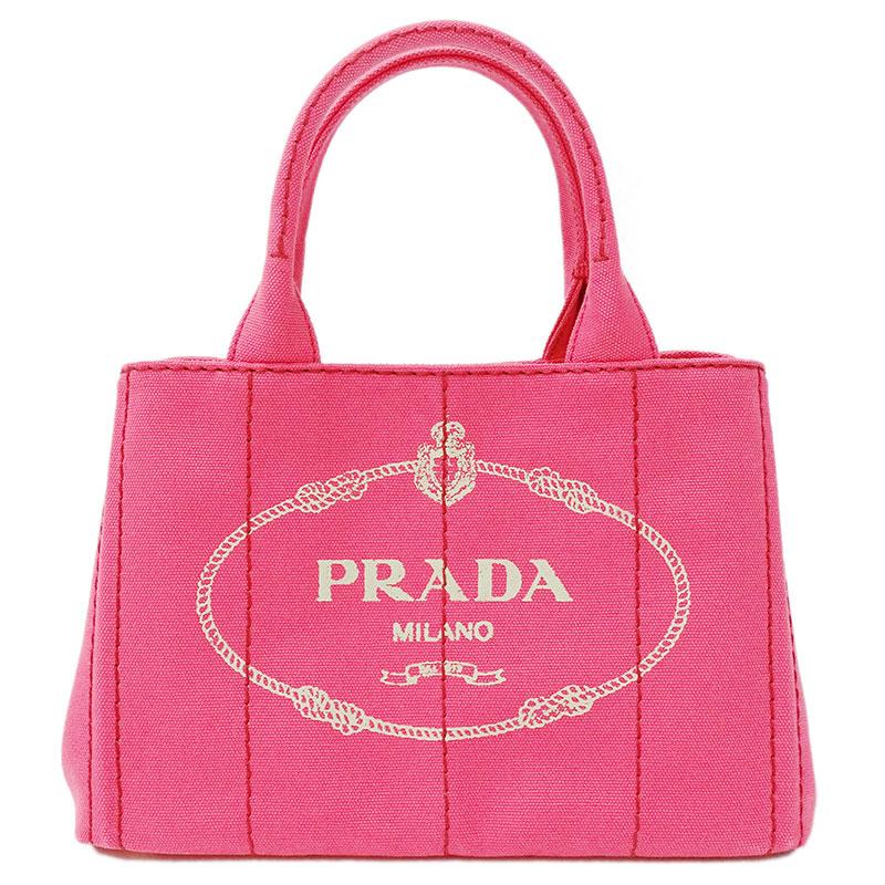 ◆☆ プラダ PRADA カナパミニ ハンドバッグ 2way ショルダー レディース キャンバス ピンク PEONIA B2439G 【中古】