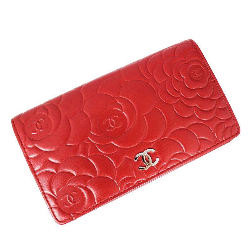 38f3d4224fb8 BrandCity: Chanel camellia emboss folio long wallet A36544 | Rakuten ...