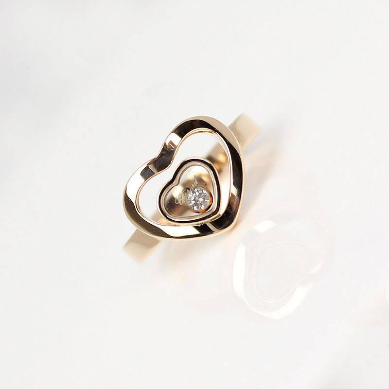 ショパール ハッピーハート ダイヤモンド リング 827691 K18PG #6.5【美品】