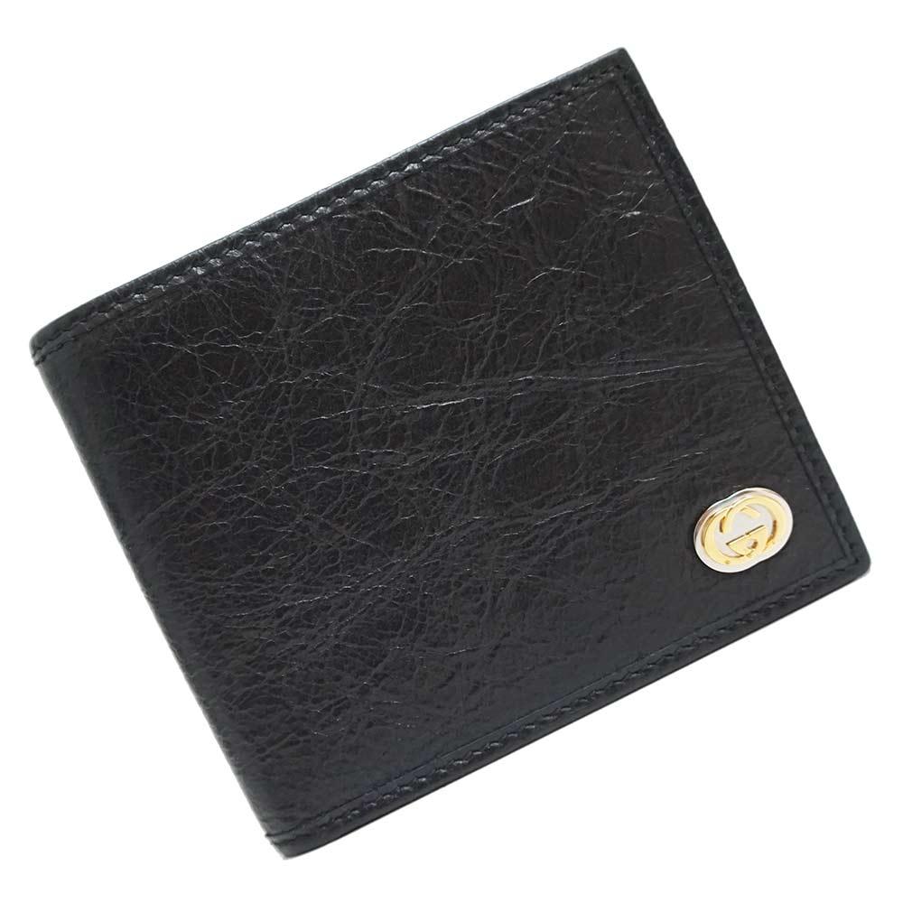 グッチ インターロッキングG レザー 二つ折り財布 黒 ブラック 581527 箱付【新品・未使用品】