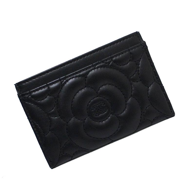 シャネル ラムスキン カメリア エンボス カードケース ブラック A82286 【新品・未使用品】