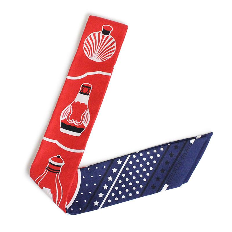エルメス ツイリー リボンスカーフ シルク100% 香水瓶 Les Flacons Bandana 【新品・未使用品】
