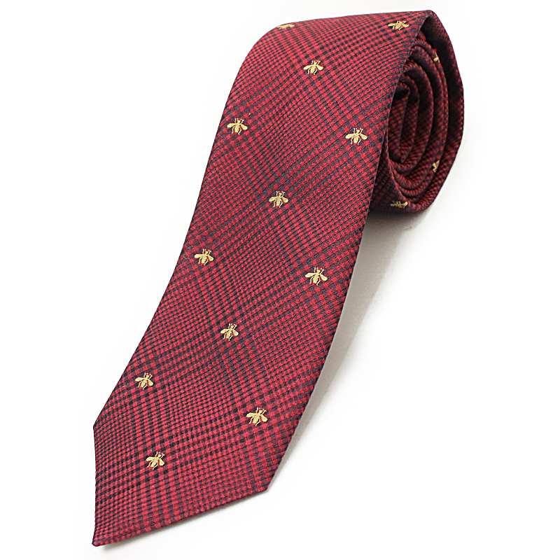 7106231642ae BrandCity: Gucci B bee check pattern silk cotton tie 7CM 444445 ...