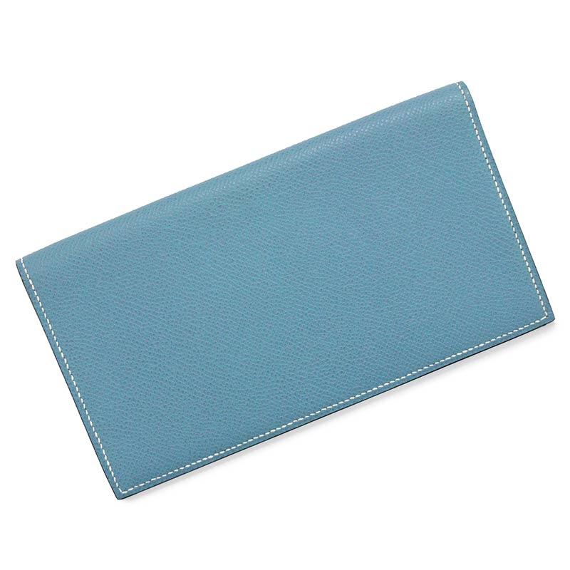 エルメス MC2・フレミング エプソン ブルージーン □L刻印 二つ折り長財布【新品・未使用品】