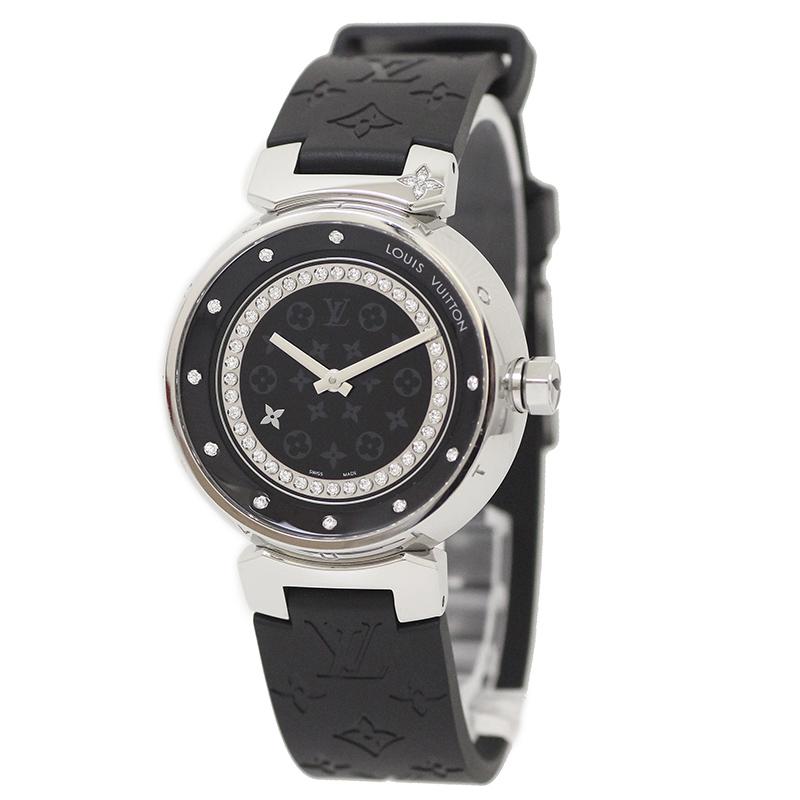 ルイ・ヴィトン タンブール ディスク アマラント ディアモン MM Q1319 メレダイヤ 腕時計 【未使用 展示品】